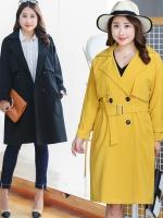 เสื้อกันลม ผู้หญิงไซส์ใหญ่ เสื้อwindbreaker สีดำ/สีเหลืองขมิ้น (L,XL,2XL,3XL,4XL) ZX-0812