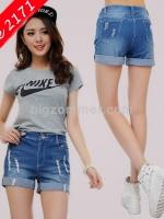 กางเกงยีนส์สีฟ้าขาสั้น ปลายขาพับ (XL,2XL)