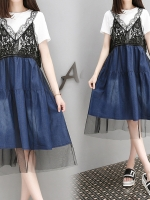 [PRE-ORDER] ชุดเซ็ท 2 ชิ้น เสื้อยืดสีขาว+ชุดเอี๊ยมกระโปรงสีน้ำเงิน (XL,2XL,3XL,4XL)