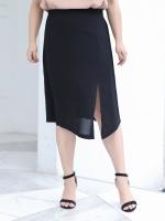 กระโปรงยาวผ้าชีฟองสีดำ ผ่าหน้า เอวยางยืดใส่สบาย (XL,2XL,3XL,4XL) ZX1217