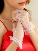 ถุงมือเจ้าสาวแบบสั้น สีขาว