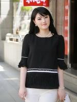 เสื้อชีฟอง คอกลม ไซส์ใหญ่ สีดำ สไตล์เกาหลี แต่งพู่ตรงชายเสื้อ สวยแปลกตาไม่เหมือนใคร (L,XL,2XL,3XL,4XL,5XL)