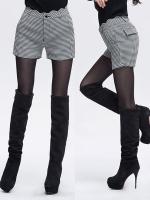 ++พร้อมส่ง++ กางเกงขาสั้นลายตารางสีขาวดำ ไซส์ 2XL