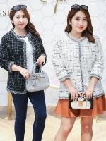 เสื้อคลุมคาร์ดิแกนสุดหรูสำหรับสาวอวบ มีสองสี สีขาว/สีดำ (XL,2XL,3XL) QW017