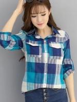เสื้อเชิ้ตผ้าฝ้ายลายสก๊อตไซส์ใหญ่ สีแดง/สีฟ้า (XL,2XL,3XL,4XL)