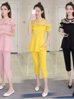 [PRE-ORDER] ชุดเซ็ท 2 ชิ้น เสื้อแขนสั้น+กางเกงขาสามส่วน สีดำ/สีเหลือง/สีชมพู (XL,2XL,3XL,4XL)