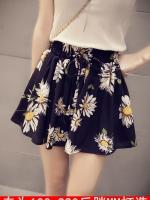 กางเกงชีฟองขาสั้น สีดำพิมพ์ลายดอกเยอบีร่า เอวยางยืด (XL,2XL,3XL,4XL,5XL)