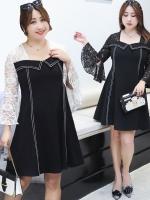 เดรสสไตล์เกาหลี เย็บหลอกสองชิ้นผ้าลูกไม้ สีดำ/สีขาว (XL,2XL,3XL,4XL) ZX6520