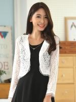 เสื้อคลุมเอวลอย(cropped) แขนยาว ผ้าลูกไม้เกาหลี สีขาว/สีดำ (XL,2XL,3XL)