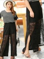 กางเกงสีดำขายาวไซส์ใหญ่ เอวยางยืด ใส่สบาย ๆ (XL,2XL,3XL,4XL) SFK107