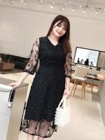 เดรสชีฟองสวยหรู สีดำ/สีครีม (XL,2XL,3XL,4XL) C8683