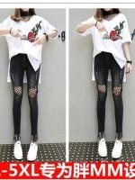 ชุดเซ็ท 2 ชิ้น เสื้อทีเชิ้ตสีขาว+กางเกงยีนส์ขายาว (XL,2XL,3XL,4XL,5XL)