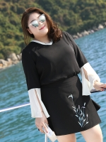 """♥พร้อมส่ง♥ เสื้อชีฟองสีดำแฟชั่นเกาหลีไซส์ใหญ่ คอวีกุ๊นขอบ แขนกระดิ่งปลายแขนเสื้อกรีดให้สวยหรู 4XL อก 48"""""""