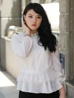 ++พร้อมส่ง++ เสื้อชีฟอง แต่งช่วงเอวด้วยผ้าลูกไม้เกาหลี สีขาว (4XL,5XL)