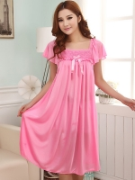 ชุดนอนไซส์ใหญ่ ผ้ามันลื่น สีชมพู (L,XL,2XL,3XL,4XL)