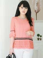 เสื้อชีฟอง คอกลม ไซส์ใหญ่ สีCoral สไตล์เกาหลี แต่งพู่ตรงชายเสื้อ สวยแปลกตาไม่เหมือนใคร (L,XL,2XL,3XL,4XL,5XL)