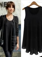 เสื้อชีฟองสีดำแขนกุด (XL,2XL,3XL,4XL,5XL) X0714#
