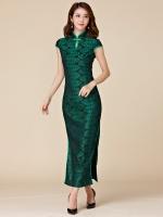 ชุดกี่เพ้ายาว แฟชั่นไฮเอนด์ แขนในตัว สีเขียว (XL,2XL,3XL)