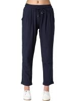 กางเกงลำลองไซส์ใหญ่ เอวรูด สีกรมท่า/สีชมพู (XL,2XL,3XL,4XL)