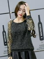 เสื้อทีเชิ้ตสีดำไซส์ใหญ่ คอกลม แขนยาว(ผ้าฉลุลายขนนกยูงขลิบทอง) (XL,2XL,3XL,4XL)
