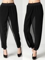++พร้อมส่ง++ กางเกงชีฟองสีดำไซส์ใหญ่ (XL)