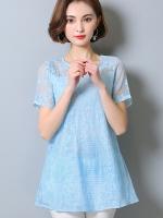 เสื้อแฟชั่นชีฟองสีฟ้าลายลูกไม้ แขนสั้น ทรงปล่อย (M,L,XL,2XL,3XL,4XL,5XL)