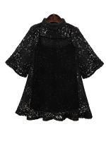 ++พร้อมส่ง++ เสื้อลูกไม้ถักไหมพรม+เสื้อซับใน สีดำ (3XL,4XL)