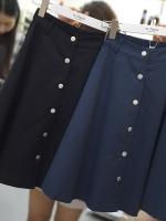 กระโปรงผ้าฝ้ายทรงเอไซส์ใหญ่ สีดำ/สีน้ำเงิน (XL,2XL,3XL,4XL,5XL)