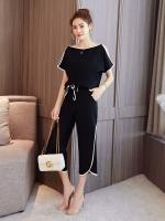 ชุดเซ็ท เสื้อชีฟองแขนระบาย+กางเกงขาสีดำขาสามส่วน (XL,2XL,3XL,4XL) #6088