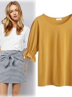 เสื้อยืดสาวอวบ แขนสามส่วน สีขาว/สีเหลือง (XL.2XL.3XL.4XL.5XL) KJ-P169