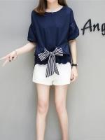 ชุดเซ็ท 2 ชิ้น เสื้อสีน้ำเงิน ชายเสื้อด้านหน้าผูกโบว์เก๋ ๆ + กางเกงขาสั้นสีขาว (XL,2XL,3XL,4XL,5XL)