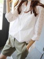 {พร้อมส่ง} เสื้อเชิ้ตสีขาว แขนลายลูกไม้ (2XL)