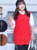 เสื้อกั๊กสาวไซส์ใหญ่ สีขาว/สีดำ/สีแดง/สีน้ำตาล ฟรีไซส์ Ai-1722