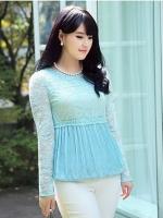 เสื้อลูกไม้ สีฟ้า ใต้อกลงไปเป็นผ้าชีฟองจีบ แบบหรูสง่างาม (L,XL)