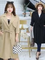 เสื้อกันลม ผู้หญิงไซส์ใหญ่ เสื้อwindbreaker สีดำ/สีกากี (XL,2XL,3XL) QYW015
