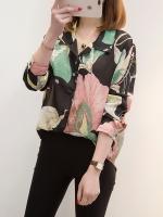 ♥พร้อมส่ง♥ เสื้อเชิ้ตชีฟองบางลายดอก แขนยาว ติดกระดุม มีปก (4XL,5XL) #8973