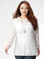 เสื้อลูกไม้สีขาว แขนยาว (1XL,2XL,5XL) E-3019