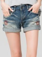 ♥พร้อมส่ง♥ กางเกงยีนส์ขาสั้น พับปลายขา ปักลายสไตล์ฮิปส์เตอร์ 4XL(40)