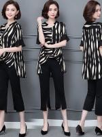 ชุดเซ็ทไซส์ใหญ่ สีดำ เสื้อชีฟองลาย+กางเกงขาสามส่วน (L,XL,2XL,3XL,4XL,5XL) HY-3988