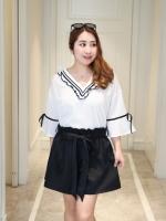 ++พร้อมส่ง++ เสื้อชีฟองสีขาว คอวี (XL)