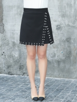กางเกงกระโปรงขาสั้นสีดำแฟชั่นสาวอวบ (XL,2XL,3XL,4XL) ZX6579