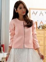 เสื้อคลุมแจ็คเก็ตสั้นไซส์ใหญ่ high-end สีชมพู แขนยาว ติดตะขอหน้า (XL,2XL,3XL)
