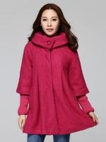 เสื้อโค้ทผ้าขนสัตว์ไซส์ใหญ่ สีแดง/สีดำ แขนถอดออกได้ [XL,2XL,3XL,4XL]