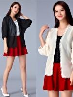 เสื้อคาร์ดิแกนชีฟองซีทรูสำหรับสาวอวบ สีดำ/สีครีม (F,XL) JK-9678