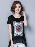 เสื้อชีฟองสีดำแขนในตัว สกรีนรูปด้านหน้าเสื้อ (M,L,XL,2XL,3XL)