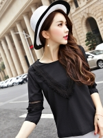เสื้อทีเชิ้ตไซส์ใหญ่สไตล์เกาหลี สีดำ/สีชมพู (XL,2XL,3XL,4XL,5XL)