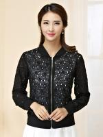 เสื้อคลุม เสื้อแจ็คเก็ตไซส์ใหญ่ ฉลุลาย สีดำ/สีขาว คลาสสิก แขนยาว ซิปหน้า (XL,2XL,3XL,4XL) JK-9748
