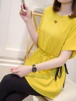 เสื้อชีฟอง แขนสั้น เอวยางยืดมีเชือกผูกข้าง สีดำ/สีเหลือง (XL,2XL,3XL,4XL,5XL) NV-9092