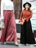 กางเกงกำมะหยี่ขายาว เอวยางยืด ปลายขากว้างใส่สบาย สีดำ/สีแดงโกเมน (XL,2XL,3XL) SFK199