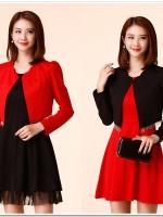แจ็คเก็ตไซส์ใหญ่แขนยาว เสื้อคลุมคาร์ดิแกนสลิม สีดำ/สีแดง (XL,2XL,3XL)